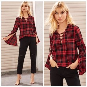 JUST IN- RED PLAID CHECKERED LACE UP SHIRT- top
